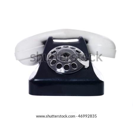Toy Telephone isolated on white background - stock photo
