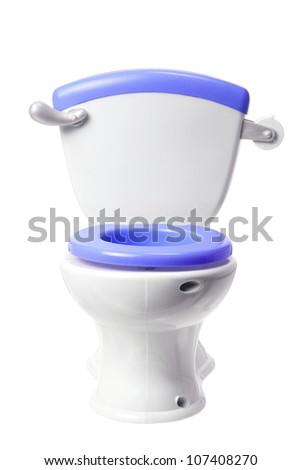 Toy Toilet Bowl on White Background - stock photo