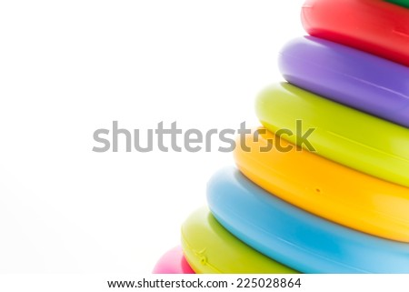 Toy tower isolated on white background