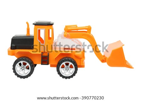 toy tractor isolated on white background - stock photo