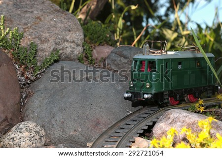 toy train at sunset