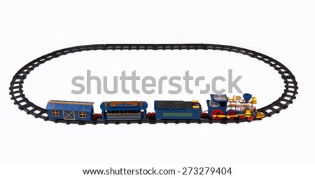 Toy train isolated on a white background  - stock photo