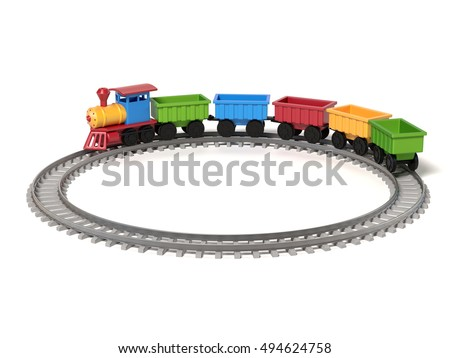 toy train on a white background 3d rendering