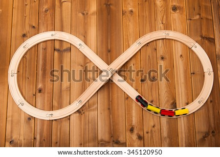 Toy train that runs in a figure eight - stock photo