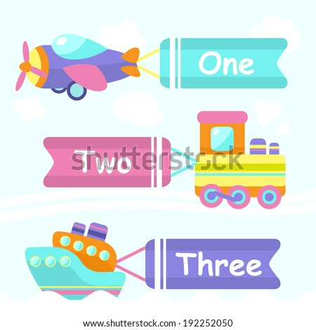 Toy transport cartoon decorative banners set with train boat plane isolated  illustration - stock photo