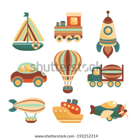 Toy transport colored cartoon icons set with yacht  train space rocket isolated  illustration