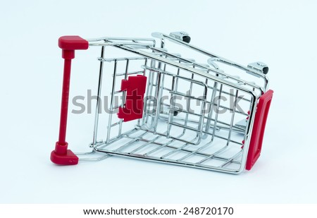 Toy trolley with white background - stock photo