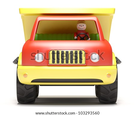 Toy truck on white background.  It's 3D image
