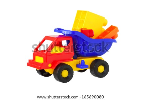 toy truck with building cubes. Isolated.                               - stock photo