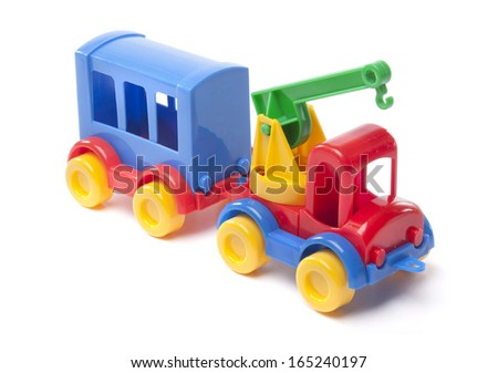 toy truck with trailer on white background