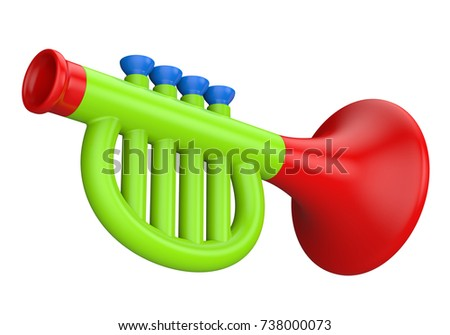 Trumpet toy stock images royalty free images vectors shutterstock toy trumpet isolated on a white background 3d illustration sciox Choice Image