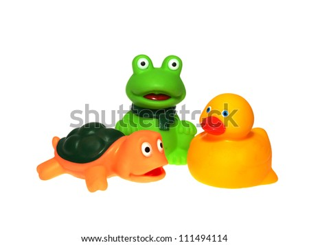 toy turtle, duck, frog - stock photo
