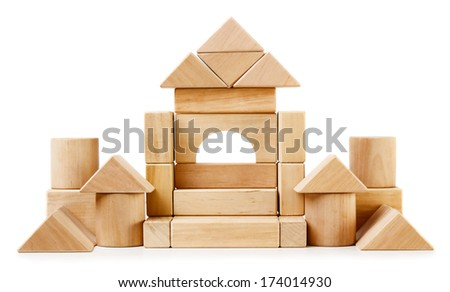 Toy wooden castle isolated on white background - stock photo