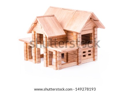 Toy wooden house isolated. Building, construction concept.