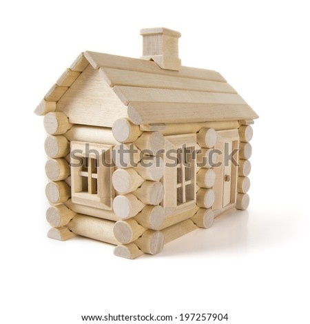 toy wooden house isolated on white, little cottage home of wood timber - stock photo