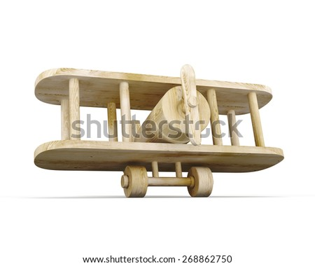 Toy wooden plane isolated on white background. 3d render image. - stock photo
