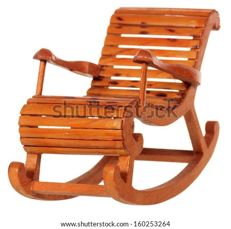 toy wooden rocking chair isolated on white background - stock photo