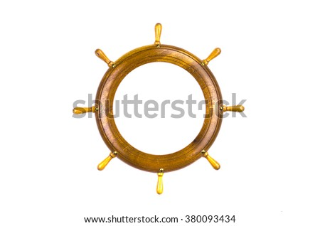 Toy wooden ship steering wheel frame isolated on white - stock photo