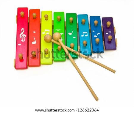 toy xylophone isolated on white - stock photo