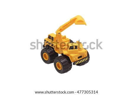 Toy yellow excavator. Isolated on white.