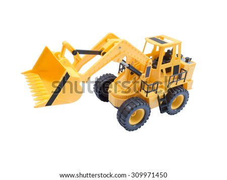 Toy yellow excavator with a raised bucket