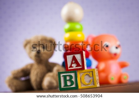 Toys collection on colorful background
