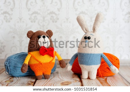 Toys knitted in the technique of knitting amigurumi