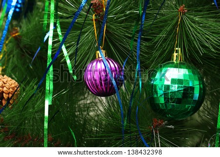 toys on a Christmas tree in the background - stock photo