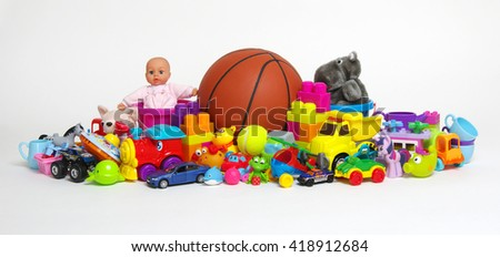 Toys on a white background - stock photo