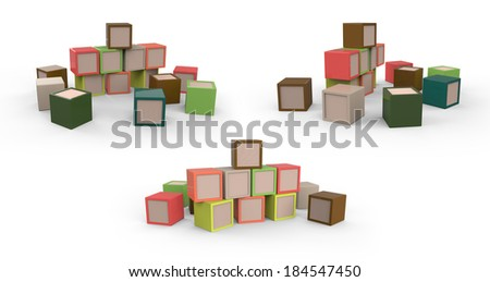 Toys wooden colored blocks cubes  Isolated on White Background. Easy editable for your design. - stock photo
