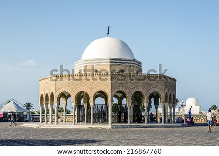 TOZEUR, TUNISIA - AUGUST 22, 2014: Mausoleum of Habib Bourgiba, the first President of the Republic of Tunisia - stock photo