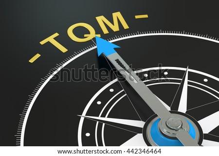 TQM compass concept, 3D rendering - stock photo