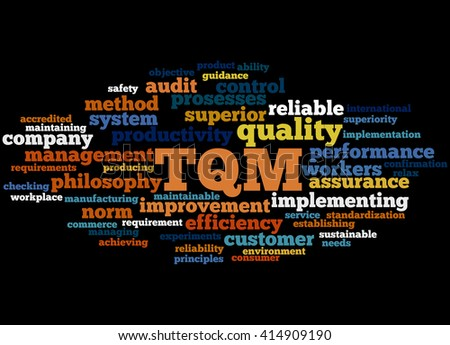 TQM - Total Quality Management, word cloud concept on black background.