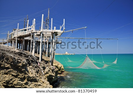 Trabucco, typical italian fishing machine. - stock photo