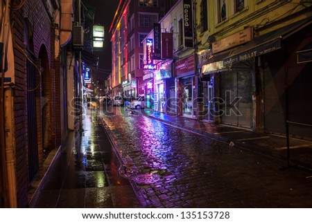 TRABZON, TURKEY - FEBRUARY 18: Night view of a narrow street in Trabzon, Turkey on February 18, 2013. Trabzon is a city in north-eastern Turkey with population 230,000.