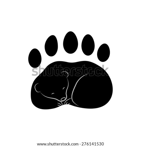 trace of the bear's paw with claws - stock photo