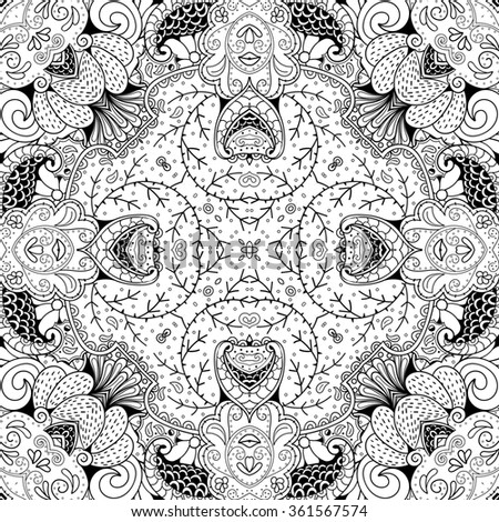 Tracery binary monochrome pattern. Mehendi carpet design. Neat even harmonious calming doodle texture. Also seamless. Indifferent discreet. Ambitious bracing usable, curved doodling mehndi.