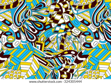 Tracery calming pattern. Mehendi design. Neat even colorful harmonious doodle texture.