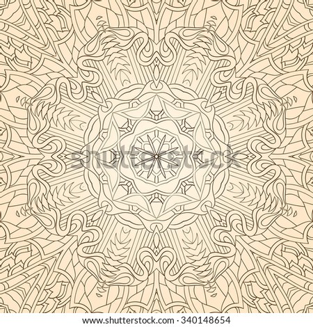 Tracery colorful pattern. Mehendi carpet design. Neat even harmonious calming doodle texture. Also seamless.