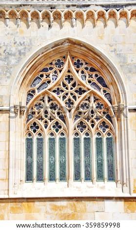 Tracery Gothic window in Batalha Monastery - stock photo