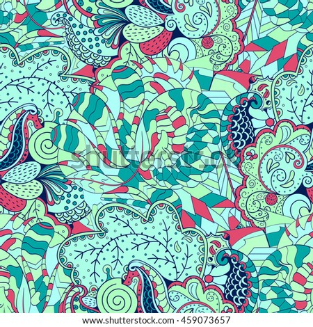 Tracery seamless calming pattern. Mehendi design. Ethnic colorful sea green doodle texture. Indifferent discreet. Curved doodling mehndi motif.