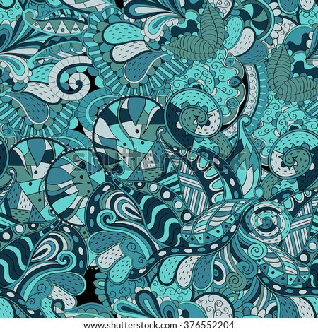 Tracery seamless calming pattern. Mehendi design. Neat even colorful harmonious doodle texture. Algae sea motif. Indifferent discreet. Ambitious bracing usable, curved doodling mehndi.  - stock photo
