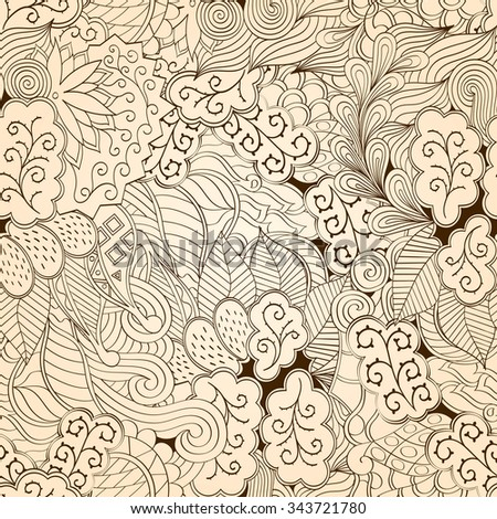 Tracery seamless calming pattern. Mehendi design. Neat even monochrome harmonious doodle texture. Algae sea motif. Indifferent ethnical. Ambitious bracing usable, curved doodling mehndi.  - stock photo