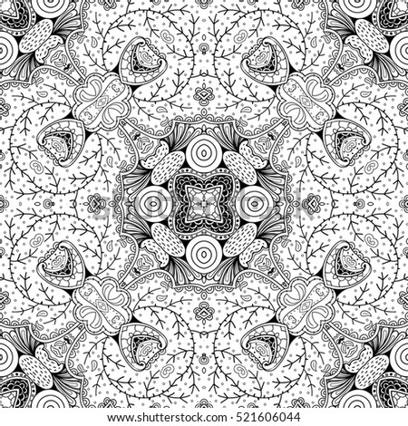 Tracery seamless calming pattern. Mehndi design. Ethnic monochrome binary doodle texture. Curved doodling black and white background.