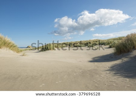 Traces in the dunes nearby the North Sea Beach of the island Terschelling in the Netherlands - stock photo