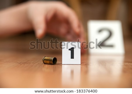 Traces of forensic science at the scene. - stock photo