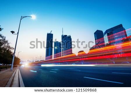 Traces of light in the context of modern architecture - stock photo