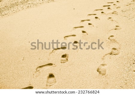 Traces on sand, a beach. - stock photo