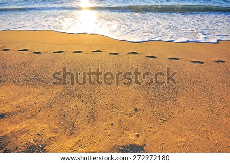 Traces on the beach sand on sunset - stock photo