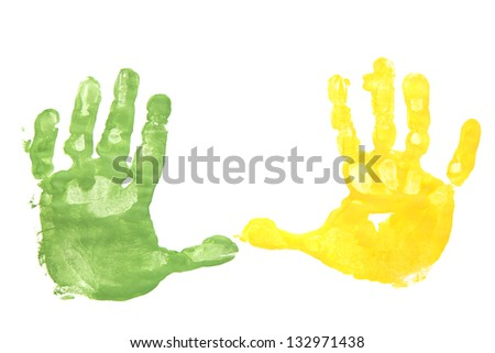 Traces stained hands isolated on white background. - stock photo